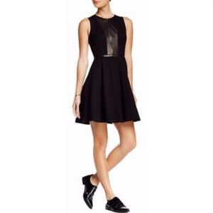 Rebecca Taylor Fit & Flare Ponte Leather Dress
